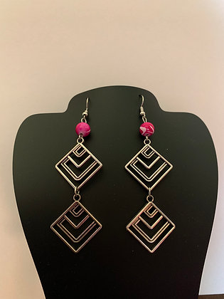 Geometric Pierced Earrings with Hot Pin Beads