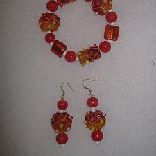 Orange & Red Glass Bracelet Set