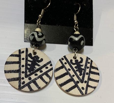 Handpainted Scorpion Wood Earrings with Bone Beads