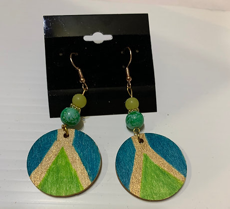 Handpainted Wood Earrings with Green Beads