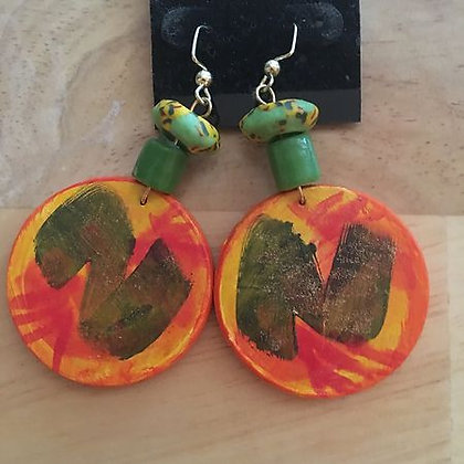 Handpainted Wood Pierced Earrings