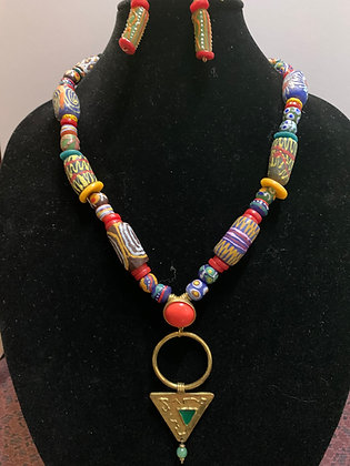 Ethnocentric Necklace Set with Triangular Brass Pendant
