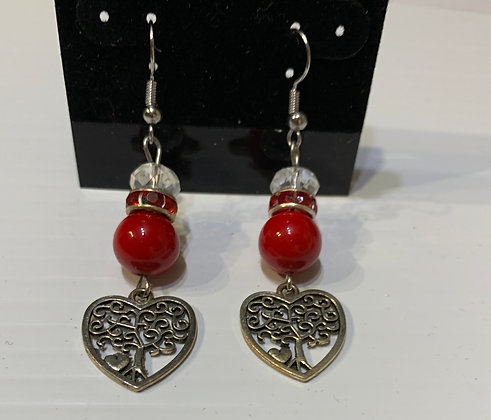 Heritage Tree Pierced Earrings with Red and Crystal Beads
