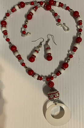 """Red and White Love""  Necklace Set"