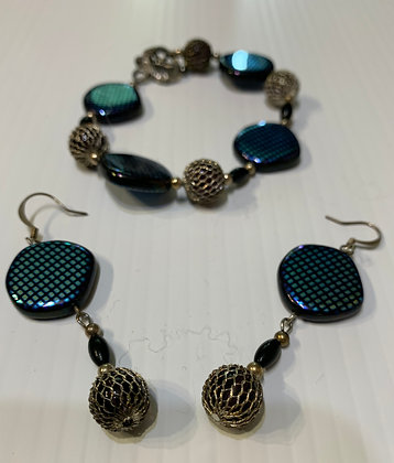 Teal and Black Glass with Pewter Bracelet Set