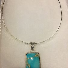 Square Turquoise Pendant on Hammered Neck Ring
