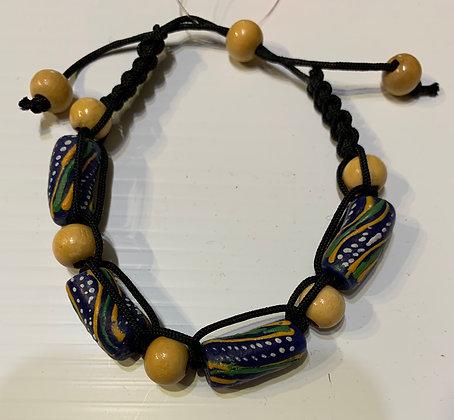 Ghana  Sandcast Shamballa Bracelet withWood beads