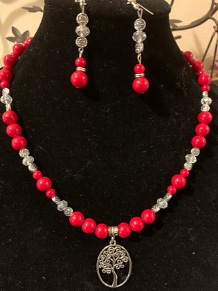 Red necklace with Heritage Tree