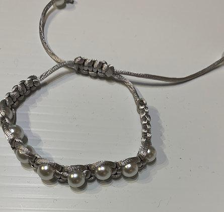 Bracelet - Grey pearls on satin grey cord