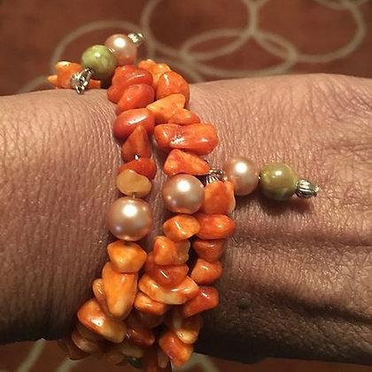 Carnelian Chip Wrap Bracelet w/ Pearl Accents