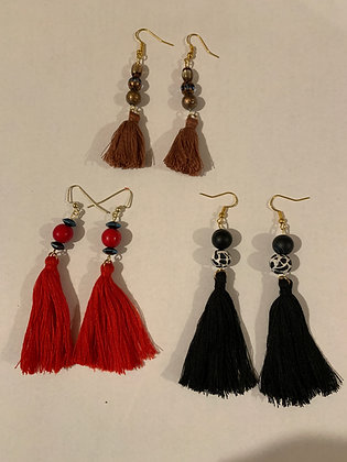 Tassel Earrings - Red, Black or Brown