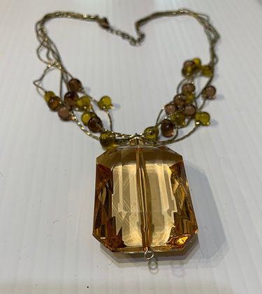 Clear Amber Pendant on brass chain with beads