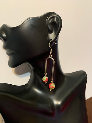 Pendulum Earrings - Red and Green