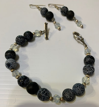Denim Blue and Crystal Bracelet set