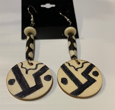 Abstract B & W Handpainted Earrings