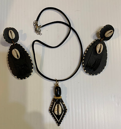 Leather and Cowrie Necklace Set