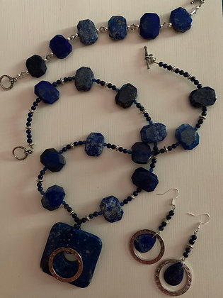 BEAUTIFUL Lapis 3 piece Jewelry Set