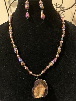 Purple Tone Necklace Set with Druzy Pendant