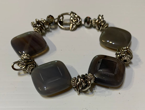 Dark Grey and Pewter Bracelet with Toggle Closure