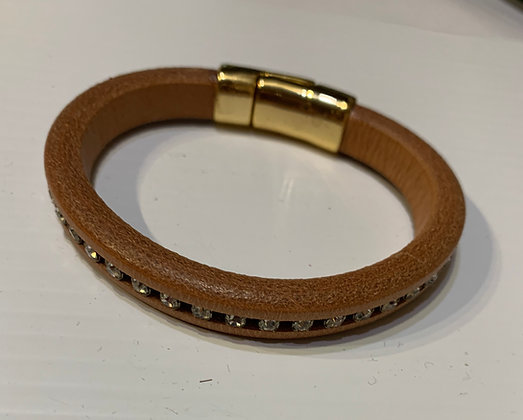 Tan Leather Bracelet with stone inserts and Magnetic closure