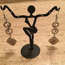 Pewter Swirl & Square Dangle