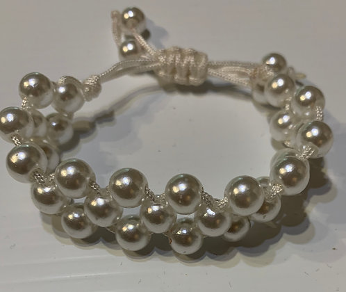 Triple Tier Pearl bracelet on cord