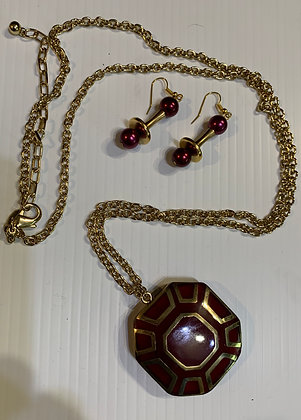 Burgundy and Gold Octagonal Pendant on Extra Long Chain with matching earrings