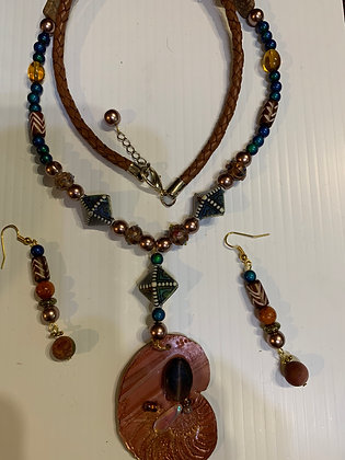"""Mixed Media"" Necklace Set with Matching Earrings"