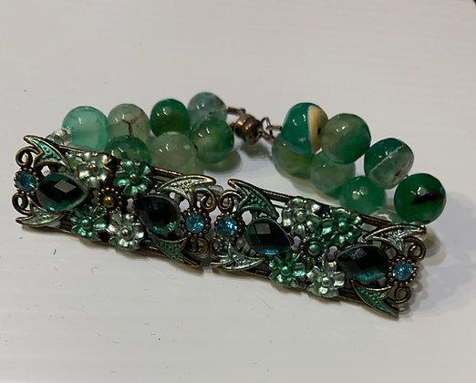 Sea Moss Green Glass Bracelet with Focals