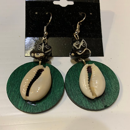 Handpainted Wood Earrings with Cowrie Shell