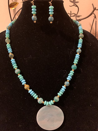 Turquoise Colored Bead Necklace Set with Large Disc Pendant
