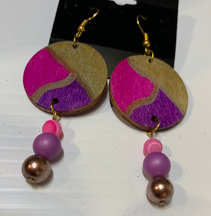 Purple pink and gold handpainted earrings