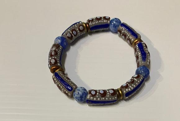 Blue and Brown Ghana Sandcast Bracelet