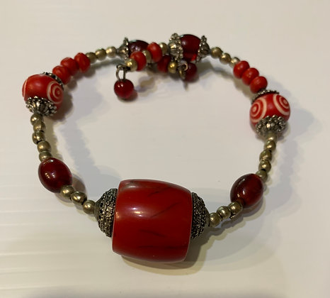 Large single wrap RED bracelet