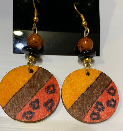 "Handpainted "" Leopard"" Wood Earrings with Rust and BlackBeads"
