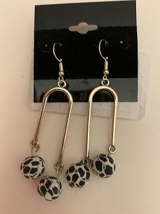 Zebra Pendulum Earrings