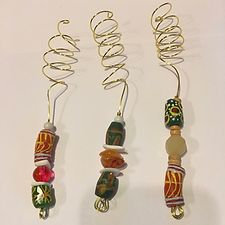 Set of Three Hair Adornments - African Krono Beads