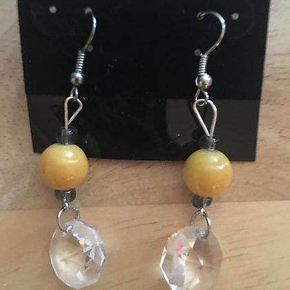 Yellow Glass Bead w/ Clear Glass Dangle
