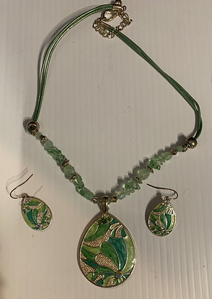 Sea green Metal Necklace Set with bead and cord enhancements