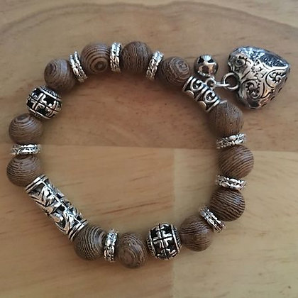 Heart Bracelet w/ Silvertone & Woodlike Beads