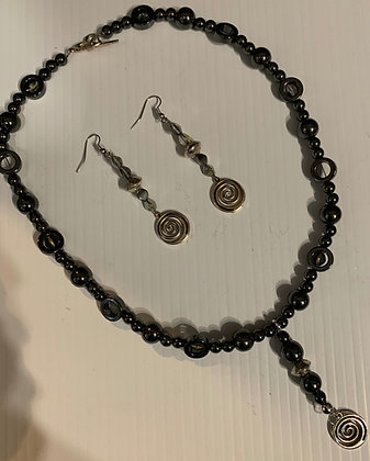 Hematite Necklace Set with Swirl Dangles
