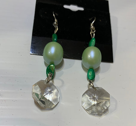 Green Beads and Crystal Dangle earrings