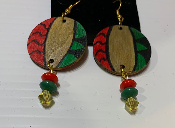 Handpainted Wood Earrings with Green, Gold and Red Beads