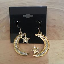 Moon and Star Rhinestone Goldtone