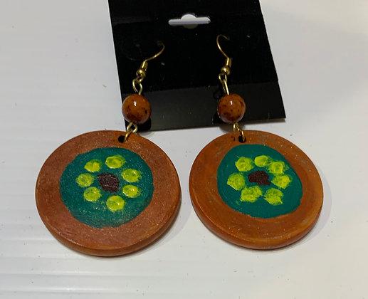 Handpainted Wood Earrings with Rust Beads