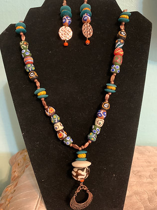 Afrocentric Necklace Set with Bone Pendant and Brass Dangles