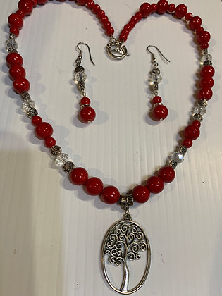 """""""Heritage""""  Red Necklace Set with Crystals and Pewter"""