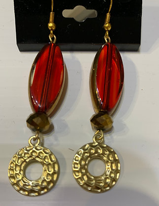 Red Glass and CopperPierced Earrings