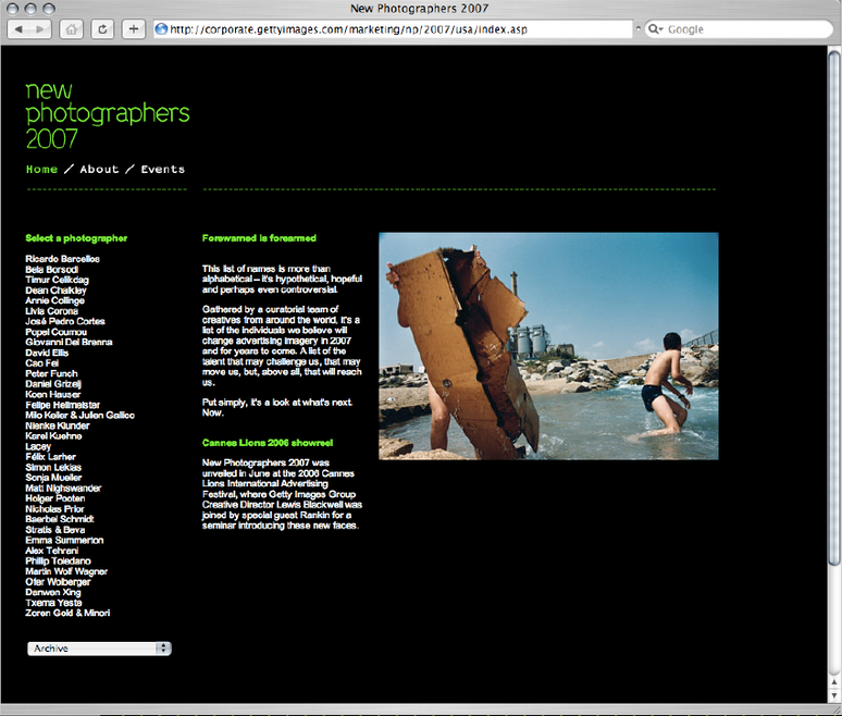 New Photographers website