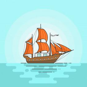 bateau-couleur-voiles-orange-mer-isole-f